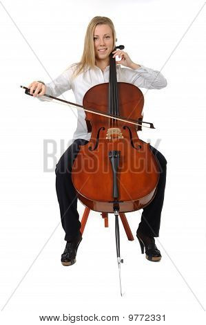 Young Cellist Sitting and Playing
