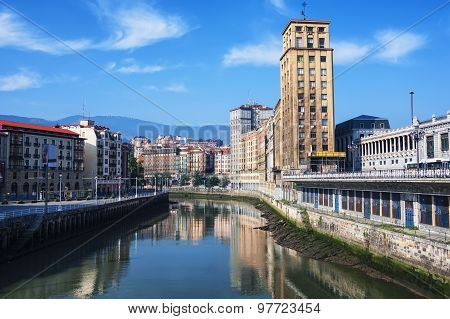 Bilbao, Spain city downtown with a Nevion River