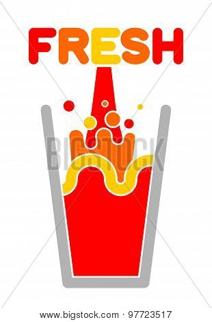 Fresh Juice Glass. Squirting Juice. Vector Illustration.