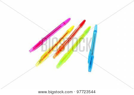 Color Pens On White Background