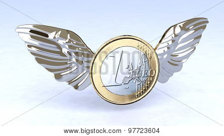 Euro Coin With Metal Wings