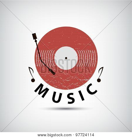 Vector retro vinyl music logo, icon