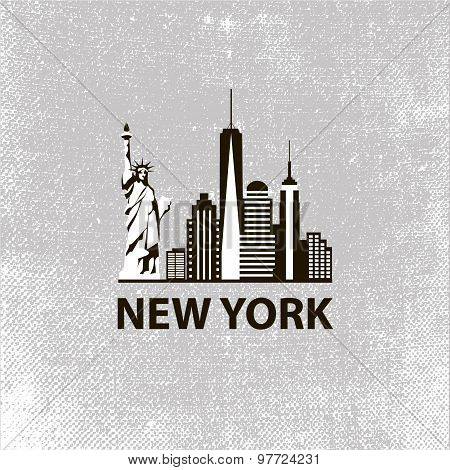 New York city architecture retro black and white vector illustration