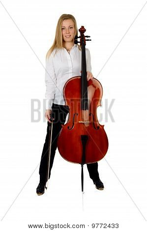 Young Cellist on White Background