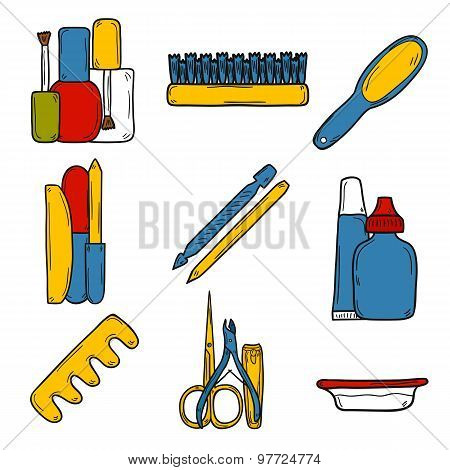 Set of cute hand drawn objects on manicure pedicure theme: clippers, polish, file, nipper, creams. B