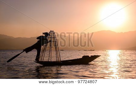 Silhoueete Of A Fisherman On Inle Lake, Myanmar