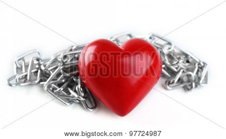 Heart shape with metal chain isolated on white