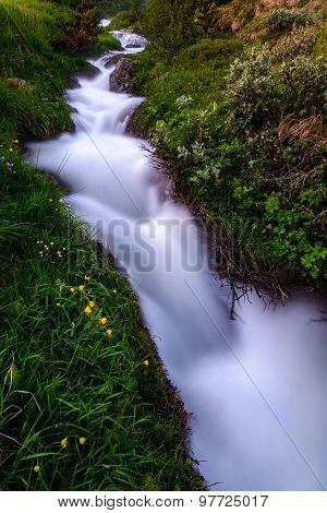 A Stream Of Warm Water In Iceland Near Akureyri