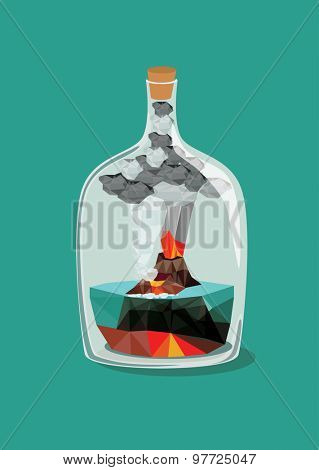 Volcano eruption  inside a bottle. Vector illustration.