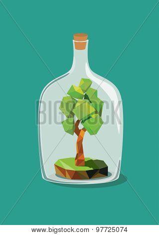 Low polygon tree inside a bottle. Vector illustration.