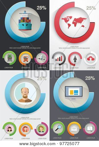 Infographic elements. Charts and icons. Vector illustration.