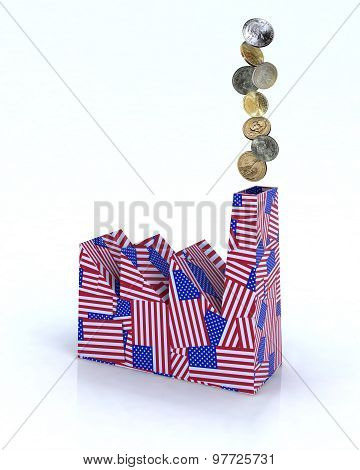 Factory Made Of American Flags With Dollar Coins