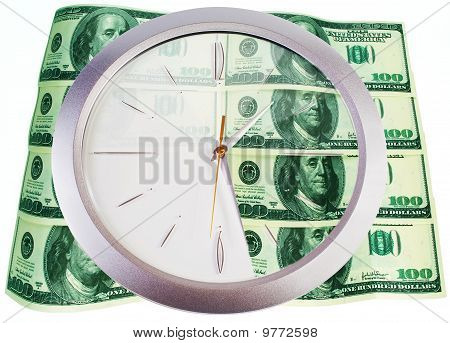 Clock And 100 Dollar Banknotes On A White Background