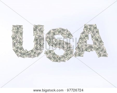 Usa Writing With U.s. Dollar Banknotes