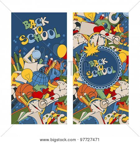 Back to school retro styled doodle banners with stationery and other education elements. Vector illustration.