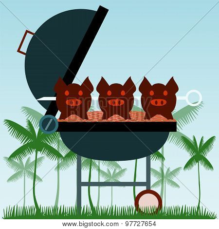 Barbecue. Grilled Pigs On Forks On The Background Of The Natural Landscape. Grass Concept.