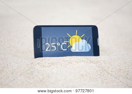Smart Phone With Weather Forecast On Screen In Sand