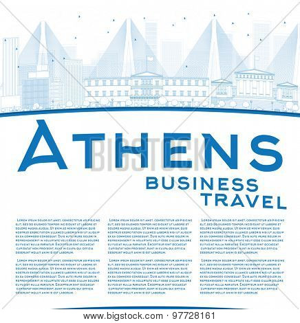 Outline Athens Skyline with Blue Buildings and copy space. Business travel concept. Vector Illustration