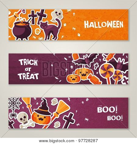 Horizontal Banners Set with Halloween Symbols.