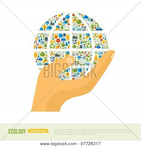 Hand Holding Earth with Ecology Icons Pattern.