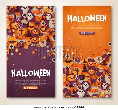 Halloween Banners Set. Vector Illustration. Flat Halloween Icons
