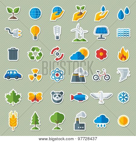 Ecology Flat Icons Stickers Set.
