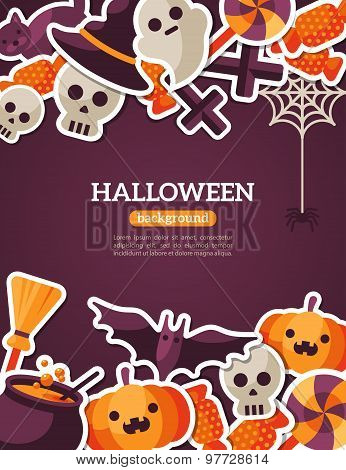 Halloween Concept Banner. Flat Icon Set on Dark Violet Backdrop.