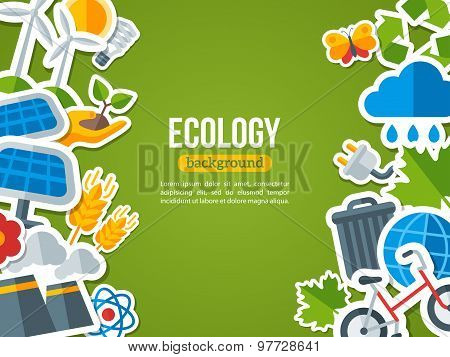 Flat Design Vector Concept for Ecology