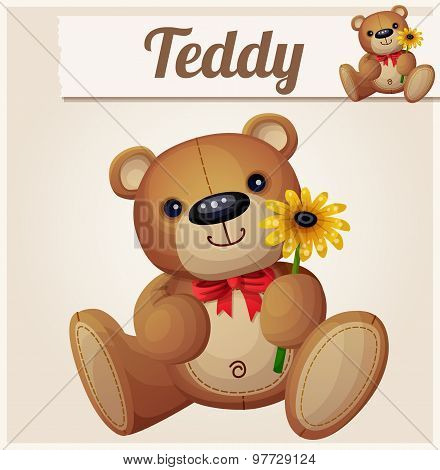 Teddy bear with yellow flower. Cartoon vector illustration. Series of children's toys