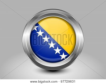 Flag Of Bosnia And Herzegovina. Metal Round Icons