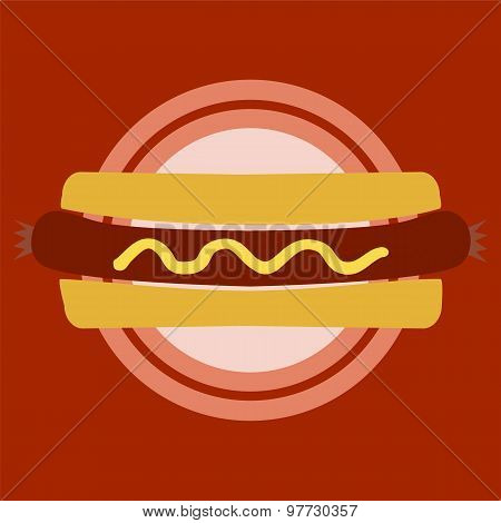 Hotdog Bun. Red Place Concept.