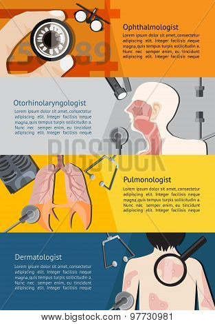 Type Of Specialist Physicians Doctor Such As Eye Ophthalmologist, Otorhinolaryngologist, Lungs Pulmo