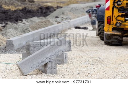 Kerbs At Road Construction Site