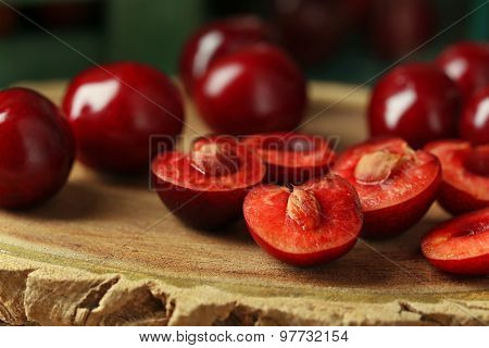 Sweet cherries on wooden background