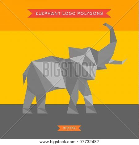 Elephant logo with reflux and low poly geometry, vector illustration
