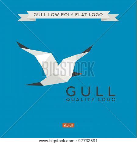 Sea gull low poly, polygon, logo illustration geometry