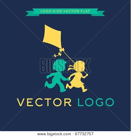 Logo Children run and play with a kite, vector illustration icon