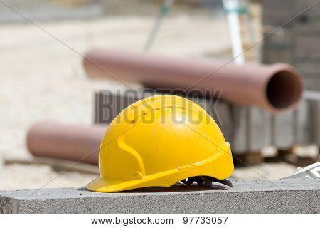Helmet At Construction Site