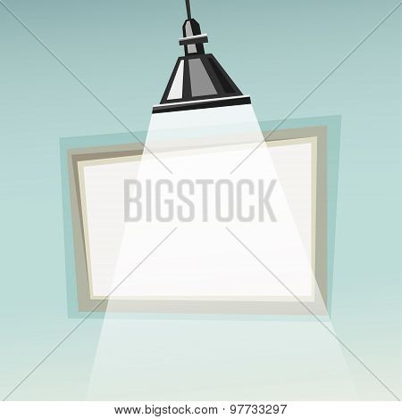 Vector Presentation Background With Empty Frame, Flip Chart, Lamp