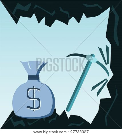 Coal Cave With Pick And Money Bag, Motivation, Purposefulness. Business Illustration