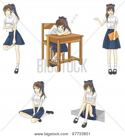 Cute Cartoon Asian Thai Schoolgirl Student In Government High School Uniform In Different Action, Ex