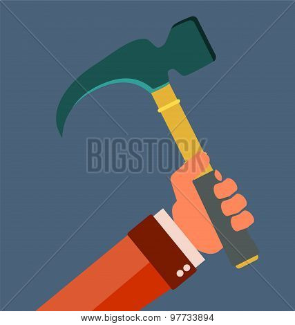 Claw Hammer In Hand. Repair Equipment. Rubber Handle.