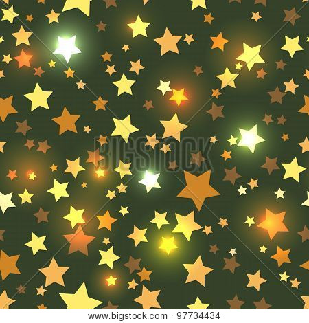 Seamless with shiny golden stars