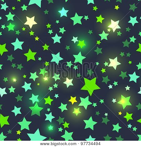 Seamless with shiny green stars
