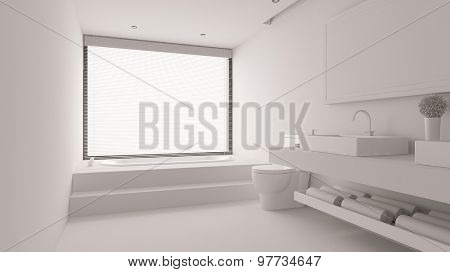 White bathroom with bathtub and WC and sink (3D Rendering)