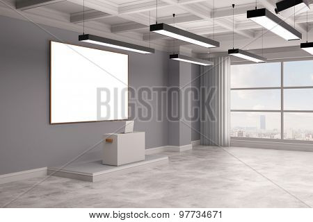 Empty conference room with high desk and whiteboard (3D Rendering)