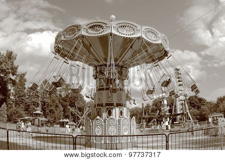 Retro Carousel At Amusement Park