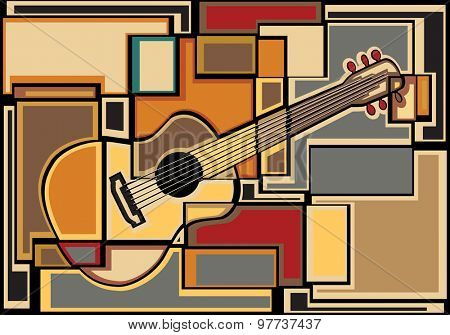 Colorful mosaic illustration of an acoustic guitar