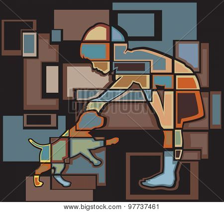 Colorful abstract mosaic illustration of a young girl petting a puppy