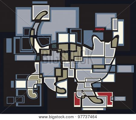 Abstract mosaic illustration of a cat